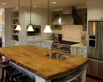 Reclaimed wood used for kitchen countertop