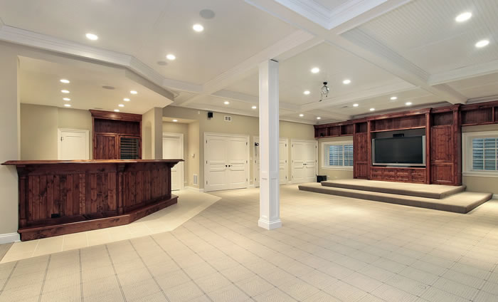 basement with large open space in Roswell, Georgia