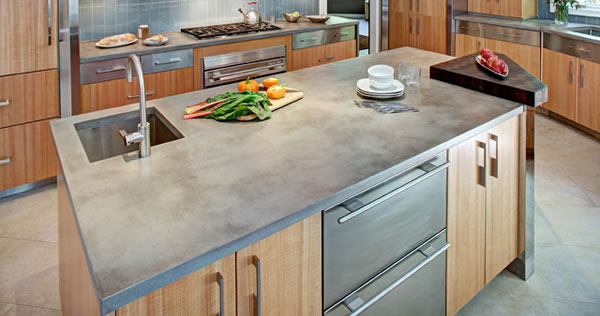 Concrete kitchen countertop for contemporary look