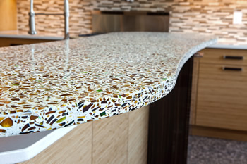 Atlanta recycled glass kitchen countertops
